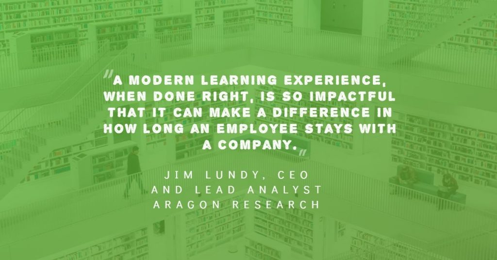 Quote by Jim Lundy on the connection between modern learning and employee retention