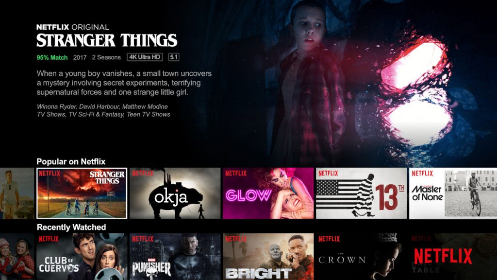 Example of Netflix user interface