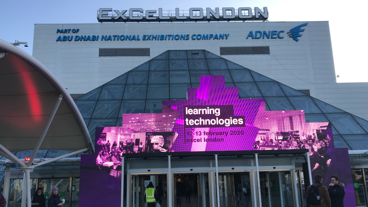 Learning Technologies 2020 sign over ExCel London entrance