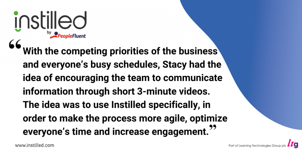 With the competing priorities of the business and everyone's busy schedules, Stacy had the idea of encouraging the team to communicate information through short 3-minute videos. The idea was to use Instilled specifically, in order to make the process more agile, optimize everyone's time and increase engagement.